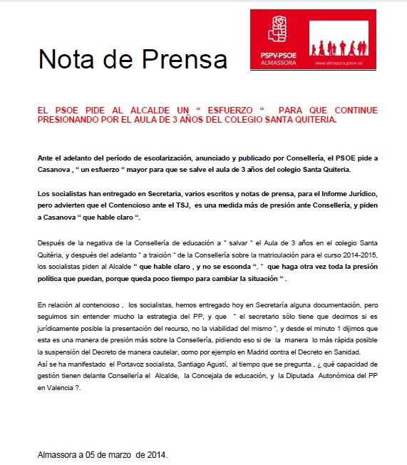 El PSPV pide al alcalde un 'esfuerzo' para presionar por el aula de 3 años del colegio Santa Quiteria